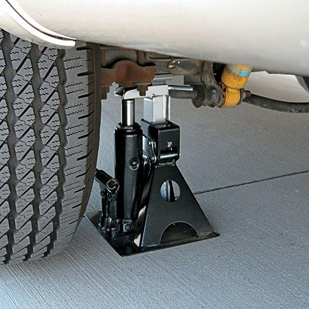 The Powerbuilt All-in-One Bottle Jack Under Car